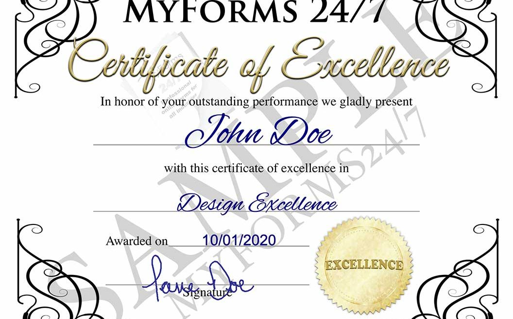 Certificate of Excellence – White